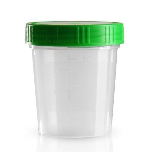 500 x Urinbecher 125 ml / Farbe: Natur / Schraubdeckel: Grün / mit Graduierung / hygienisch verpackt / mit Beschriftungsfeld auf Becher und Deckel / Urinprobenbecher / Urinprobebecher / Probebecher / Probenbecher