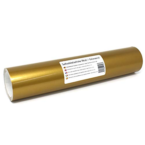 Finest Folia (12,89€/m² Selbstklebende Plotterfolie Bastelfolie 31cm x 3m 105 Farben Matt/Glänzend Möbelfolie Folie (091 Gold, Matt)
