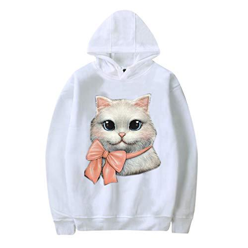 GOKOMO katzendruck Pullover Langarm Kurz Hoodie Sweatshirt Pullover Tops Langarmshirt Teenager Mädchen Bauchfrei Kapuzenpullover Gedruckt(Weiß-d,Small) -