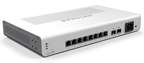 Netgear GC510P-100EUS 10 Port (8 Port Gigabit Ethernet 134 Watt PoE+ Insight App Managed Smart Cloud Switch mit 2 x SFP Fiber Ports, lüfterlos und mit Wand-/Rack-Befestigungskit) weiß (Wand-rack-netzwerk)