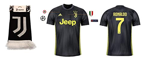Juventus Turin Trikot Herren 2018-2019 Third UCL - Ronaldo 7 + Fanschal (M)
