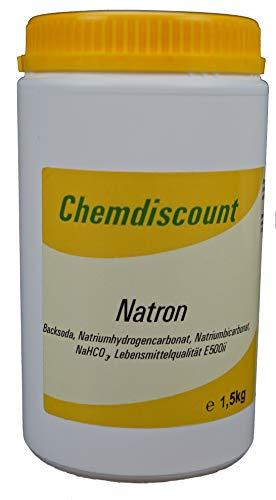 Chemdiscount 1,5kg Natron Backsoda Natriumhydrogencarbonat Natriumbicarbonat E500ii in einer Schraubdeckeldose