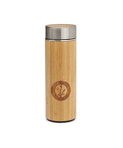 Bamboomug ED5009, Thermoskanne, doppelwandig, mit Siebeinsatz, aus Edelstahl und Bambus, 300 ml