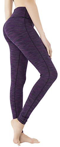 Queenie Ke Women Power Stretch Plus Size High Waist Yoga Pants Running Tights Size XXL Color Space Dye Purple