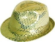 Hut Trilby Tribly Fedora Pailletten Gold Jackson Party Schlager Schlagerparty
