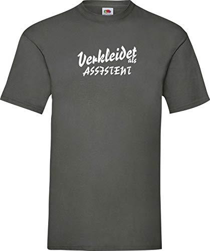 Shirtinstyle T-Shirt Karneval Verkleidet als Assistent Die Beste Verkleidung Farbe grau, Größe (Herren Kostüm Assistent)