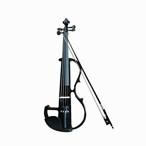 C Five 4/4 Full Size Student Solid Wood Electric Silent Violine Anfänger mit Koffer, Bogen, Kolophonium, Kinnhalter, Kopfhörer, Audiokabel und Brücke