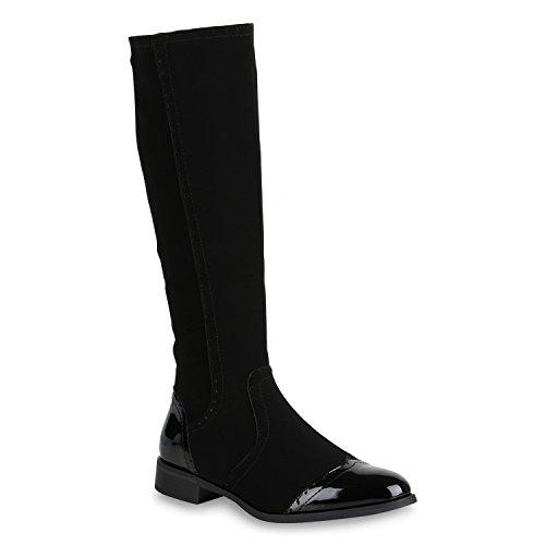 Stiefelparadies Damen Klassische Stiefel Lack Boots Blockabsatz Schuhe 147891 Schwarz Lack 36 Flandell
