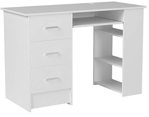 Homfa Bureau d'ordinateur Table PC Table de Travail avec Tablette à Clavier Trois Tiroirs et Trois Étages Bois 109x49x75cm (Blanc)