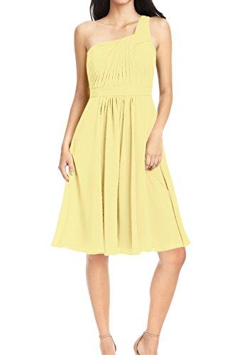 Ivydressing Sweetheart A-Linie ein Schulter Falte Ruecken mit Schnuerung  Kurz aermellos Chiffon Festkleid Abendkleid