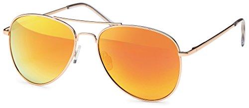 Pilotenbrille Sonnenbrille 70er Jahre Herren & Damen Sunglasses Fliegerbrille verspiegelt (Gold/Fire)