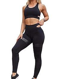 Mujer 2 Piezas Chándal, Sin Manga Blusa Crop Top y Pantalones Moda Casual Running Jogging