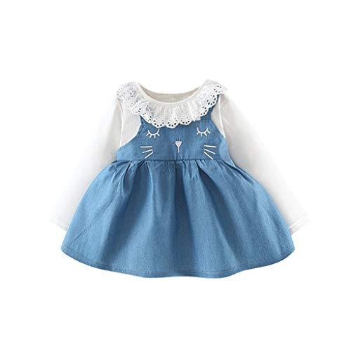 Kleinkind Baby Kinder Mädchen Kleid Denim Rüschen Patchwork Katze Ohr Prinzessin Kleid Kleidung A-line (Katze Im Hut Kürbis)