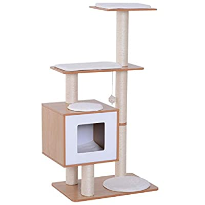 Pawhut Wood Cat Tree Scratching Post Kitten House Condo Activity Center w/Cushion Hanging Toy Multi-level by MH STAR UK LTD