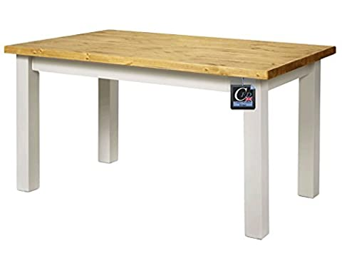 Pine Farmhouse Table With Solid Oak Top, Painted Base & Square Legs