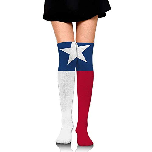 Not afraid Texas State Garden Flag Training Socks Crew Athletic Socks Long Sport Soccer Socks Soft Knee High Sock Compression Socks for Men Women 50CM