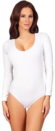 Merry Style Damen Langarm Body BD900 (Weiß, 38 (Herstellergröße: M))