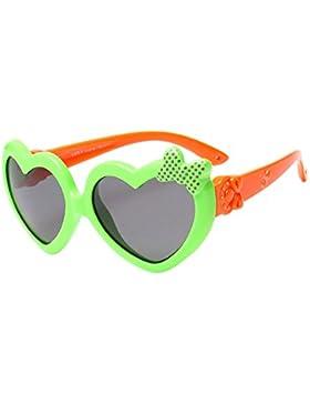 KINDOYO Unisexo Gafas de Sol para Niños Niñas Moda Flexible Rubber Forma de Corazón Polarizadas Gafas