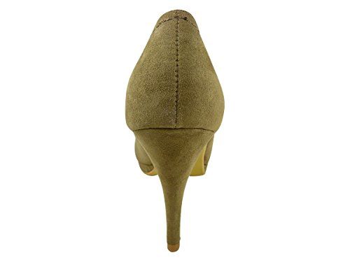 Schuhe und elegant Plateau High Heels, velours, 10 cm Taupe