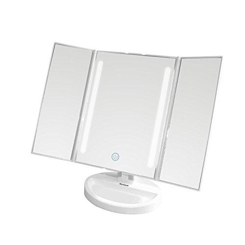 Preisvergleich Produktbild Auxmir Kosmetikspiegel mit LED Beleuchtung und Touchscreen aus Kristallglass und ABS Kunststoff, Tischspiegel Beleuchtet mit Blendfreier Bleuchtung für Wohnzimmer, Kosmetikstudio, Spa und Hotel