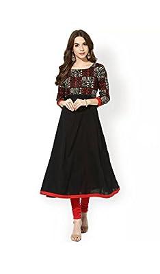 AnjuShree Choice Women's Black Cotton Anarkali Kurti - Black Sizes: M,L,XL