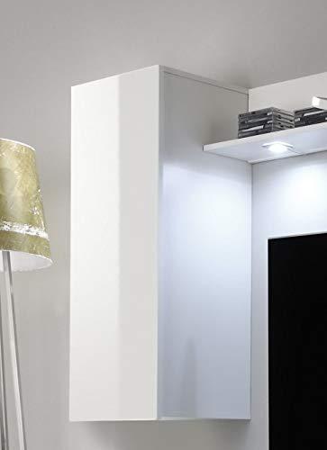Wohnwand – Weiße Wohnzimmer Anbauwand mit Beleuchtung Bild 4*