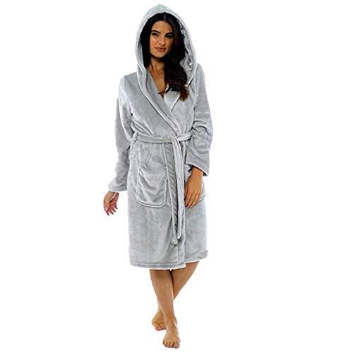 (YEARNLY Frauen Winter Plüsch Verlängerte Schal Bademantel Startseite Kleidung Langärmelige Robe Mantel Mode Große größe lange roben)