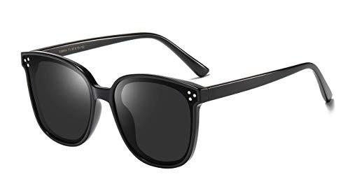 TEN-G Polarized Retro Oversized Square Sunglasses for Women B2474 (Black)