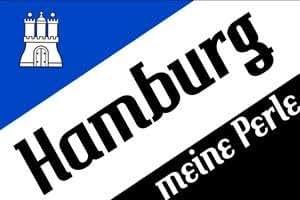 """Hamburg Meine Perle Motiv """" schräg """" Fussball Fahne Flagge Grösse 1,50x0,90m - FRIP –Versand®"""