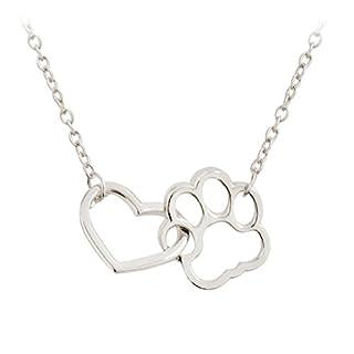 Halskette Anhänger Herz Hundepfote (Silber)