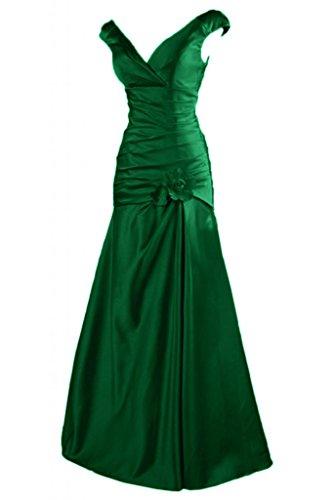 Toscane mariée à deux support fleur satin abendkleider party ballkleider de longueur fixe Vert - Jaeger Gruen