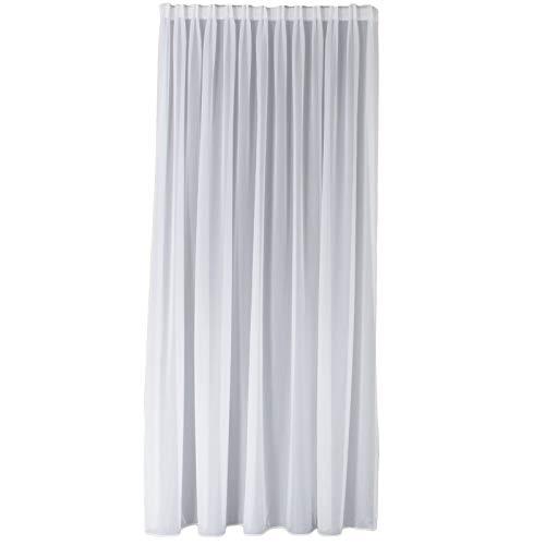 Weiße Gardinen im Wunschmaß | Hochwertiger Gardinenstoff | Gardinenstoff nach Maß | Vorhänge aus Voile-Stoff mit Flachfaltenband in Top Qualität