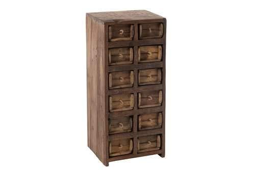 Rustikaler Schrank (Rustikaler Schrank mit 12 Schubladen aus recyceltem Holz, braun)