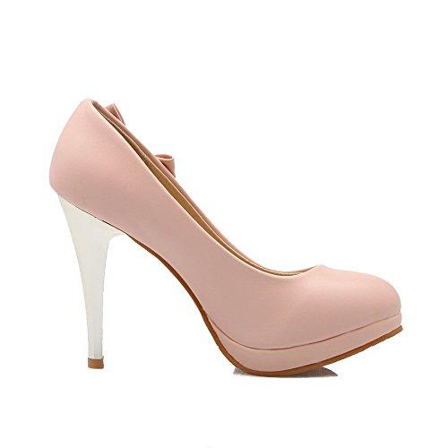 VogueZone009 Femme Rond Stylet Matière Mélangee Tire Chaussures Légeres Rose