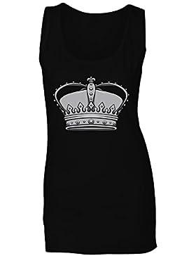 Novedad divertida del arte de la reina del rey de la corona camiseta sin mangas mujer a576ft