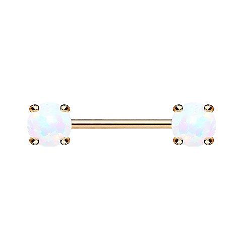 Piersando Brustwarzen Piercing Intimpiercing Nippelpiercing Brust Nippel Intim Barbell mit Opal Perlen Kugeln Rosegold 1,6mm x 14mm x 6mm Weiß