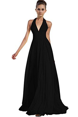 Find Dress Elégant Robe pour Mariage sans Manche Cocktail Décolleté au Dos Robe de Bal Vintage Mi Longue Anniversaire Gala Gown en Mousseline de Soie Taille Personnaliser Noir