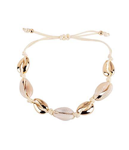 SIX Damen Fußkette im maritimen Look mit Gold-farbenen und beigen Muscheln, verstellbares Zug-Band mit goldenen Perlen (782-470)