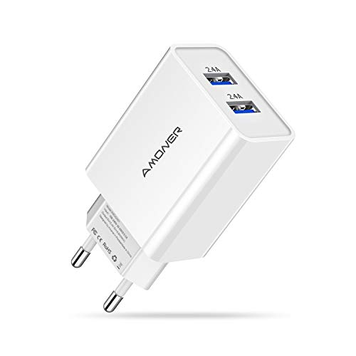 Amoner USB Ladegerät 1 Stücke 2-Port 24W Ladeadapter für iPhone X XS XR XS Max 8 7 6 Plus, iPad Pro Air Mini, Galaxy S9 S8 Plus, LG, Huawei, HTC, Powerbank, MP3 usw. Weiss