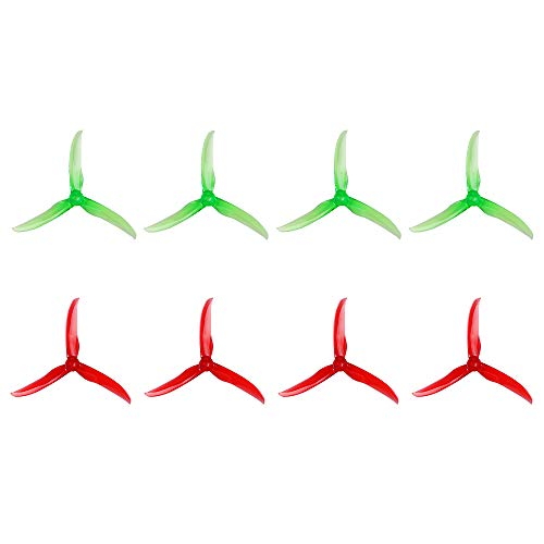 Guokukey 8pcs T5143 3 Blades propellers T-Motor 5 Inch Tri-Blade Crystal Props CW CCW for FPV Freestyle RC Racing Drone Quadcopter (Crystal Green Crystal Red)