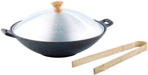 k Pfanne: Gusseisen Wok Set, 30cm (Wok Schmorpfanne) ()