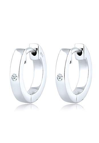 Diamore Damen-Ohrringe Creole 925 Sterling Silber Diamant (0,04 ct) Weiß Brillantschliff 0306313016 (Diamant-ohrringe Sterling Silber)