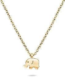 Nuoli® Elefanten Kette Damen Gold (45 cm) Glücksbringer Halskette für Frauen
