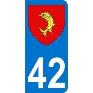 Autocollant 42 avec blason Loire plaque immatriculation Auto (9,8 x 4,5 cm)
