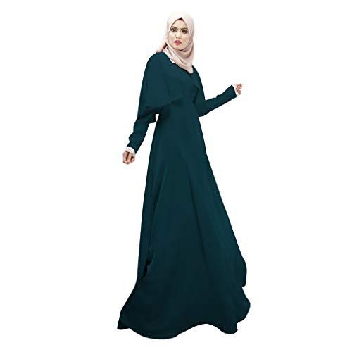 Scrolor Langarm Shirts für Damen Muslim Women Modest Maxi Dress Abaya Dubai Oversize Long Robe Solid ()