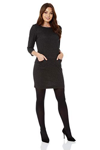 Roman Originals Femme Robe à Pois avec Poches Manches 3/4 Automne/Hiver - Pull Tunique Casual Sortie Simple Confortable Doux - Noir - Taille 38