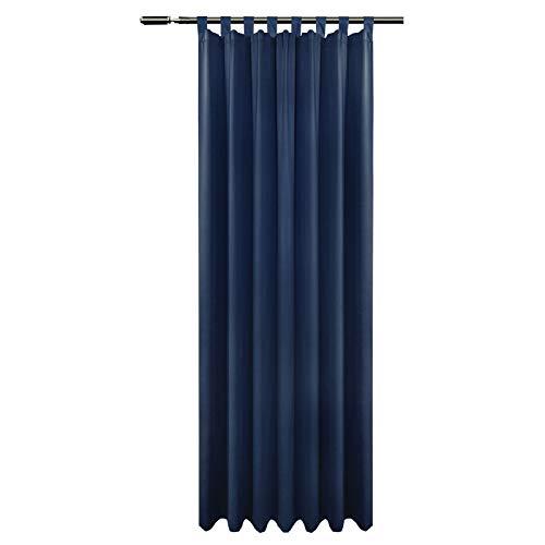 EUGAD 0281BCL, schwere Verdunkelungsvorhang Gardinen Blickdicht mit Schlaufen, Dunkelblau 225x135 cm (HxB), Vorhang Thermo Schlaufenschal für Schlafzimmer Wohnzimmer Tür