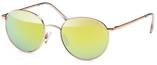 Chic-Net Sonnenbrille rund Gläser John Lennon Style 400UV Metallrahmen golden verspiegelt gelb