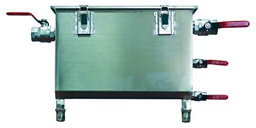 Bac A Graisse inox 304, 80L, 100-150 Couverts avec Couvercle, Panier A Graisses de 10L Inclus + 4 Vannes