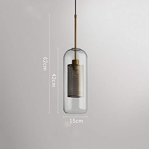 MJK Luces colgantes, lámpara de araña - Nordic Single Head Chandelier Viento industrial Cabeza de la bola de cristal Araña de luces (luz cálida),segundo